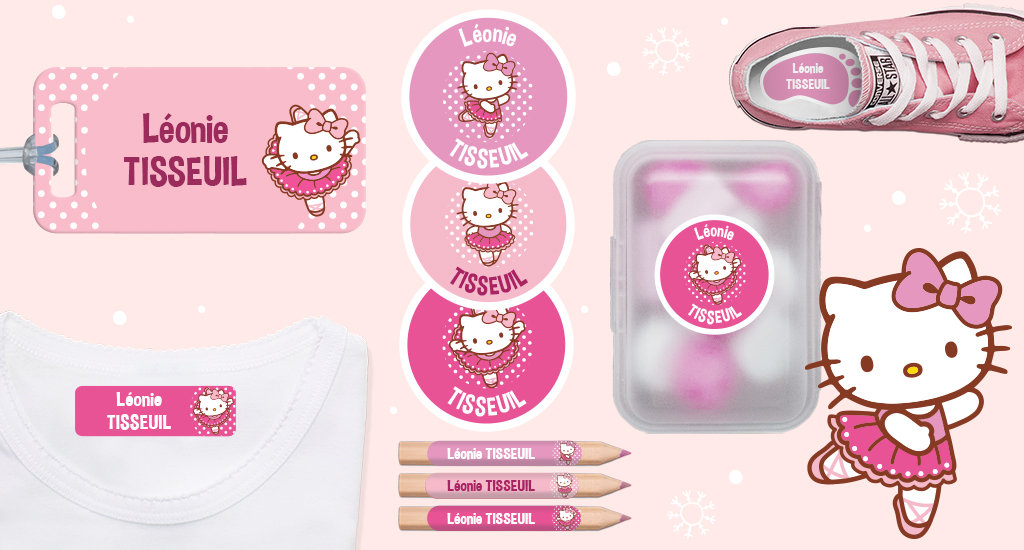 Toutes nos formats d'étiquettes à l'effigie d'Hello Kitty