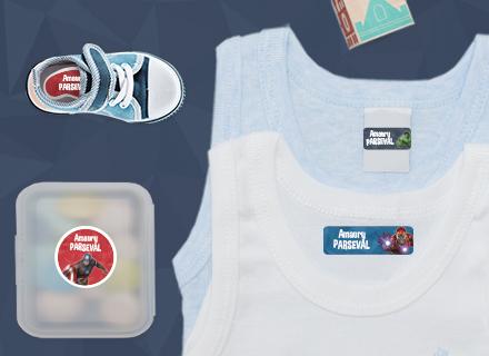 Etiquettes vêtements Avengers  pour marquer avec le nom à l'école maternelle