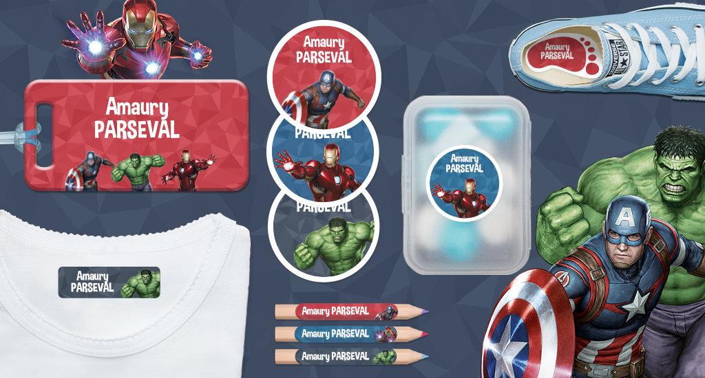 Tous nos formats d'étiquettes avec Marvel Avengers