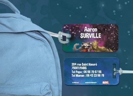 Une étiquette Gardiens de la Galaxie pour identifier sacs et valises