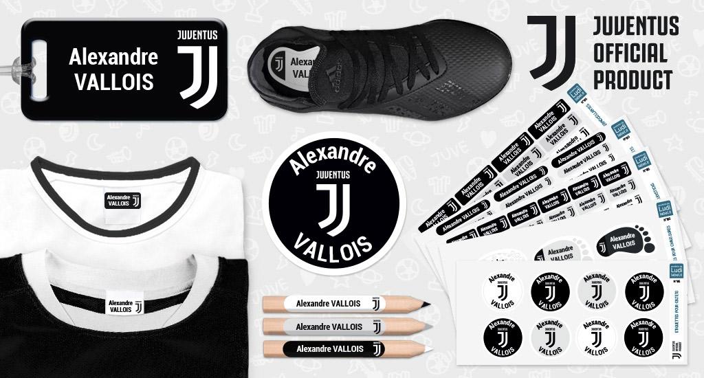Les étiquettes nominatives aux couleurs de la célèbre équipe de foot de la ville de Turin