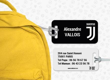Une étiquette de la Juventus Football Club pour identifier sacs et valises