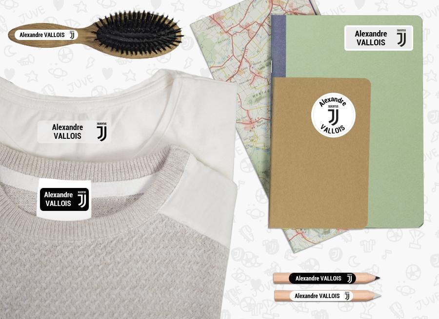 Des étiquettes de la Juventus Football Club avec le nom de votre enfant sur chaque affaire de son trousseau