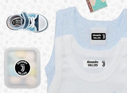 Etiquettes vêtements de la Juventus Football Clubpour marquer avec le nom à l'école maternelle