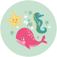Mer, Baleine, Hippocampe et étoile de mer
