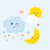 Nuage, lune et soleil adorables