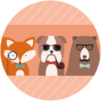Trio d'animaux hipsters