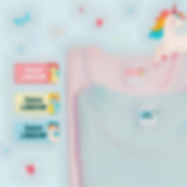 4 pack etiquettes autocollantes marquer vetements enfant ecole licorne 21