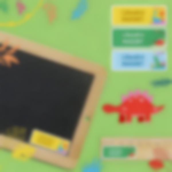 4 pack etiquettes autocollantes rectangles objets dinosaures