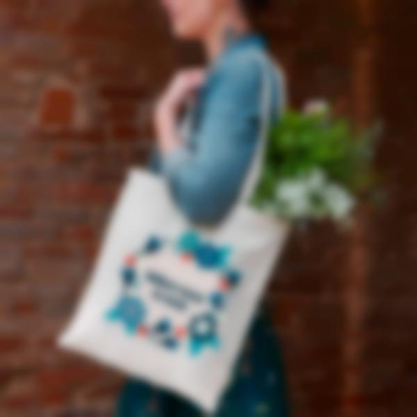 tote bage shopping bag tissu couronnes fleurs 2 2