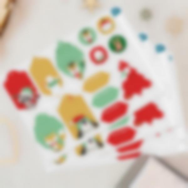 Étiquettes pour marquer les cadeaux de Noël - Animaux Rouge/Vert