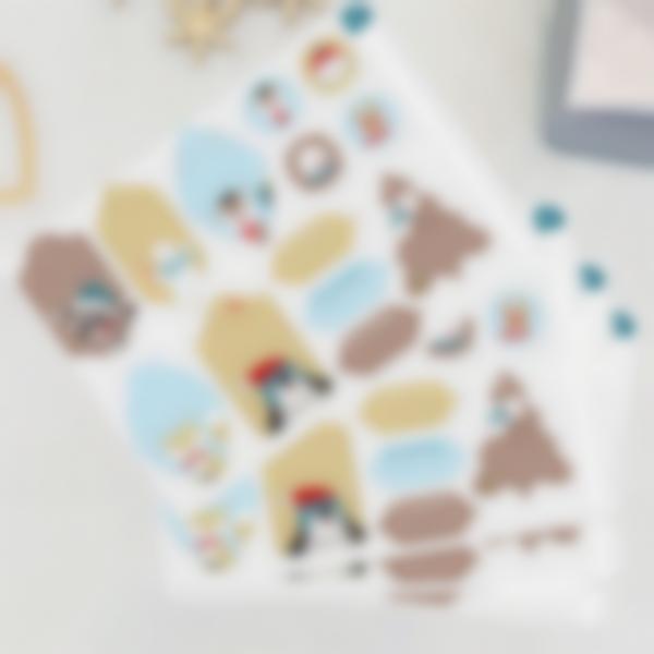 Étiquettes pour marquer les cadeaux de Noël - Animaux Or/Bleu